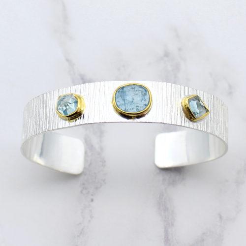 Aquamarine Gemstone Textured Sterling Silver Cuff Bracelet