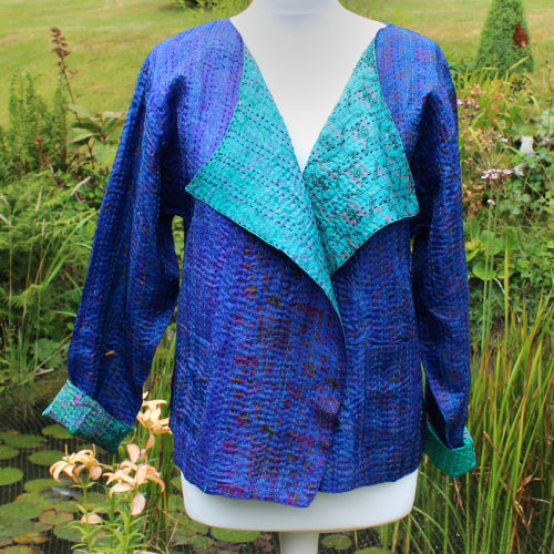 Blue & Green Kantha Hand Stitched Silk Jacket
