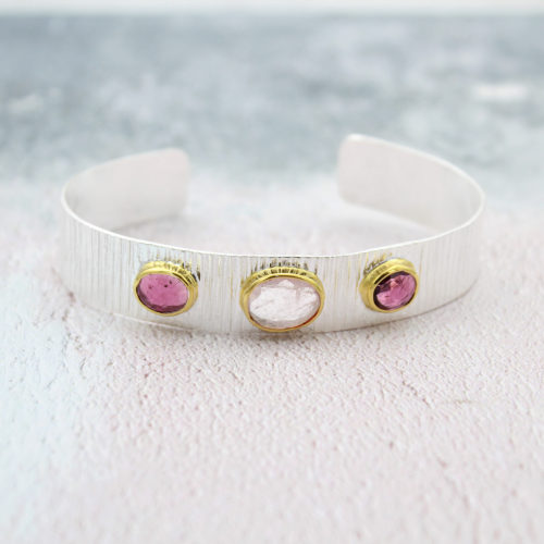 Tidal morganite and tourmaline silver cuff bracelet