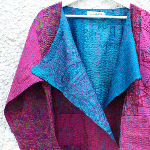 Pink & Blue Kantha Hand Stitched Silk Jacket