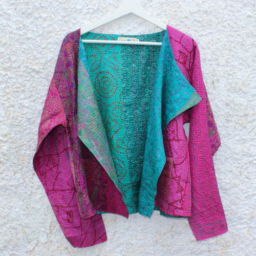 Pink Kantha Hand stitched Silk Jacket