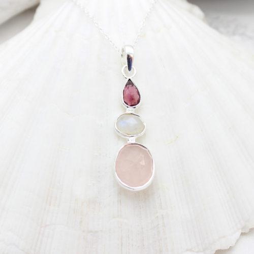 Rose Quartz, Moonstone & Tourmaline Gemstone Handmade Silver Pendant