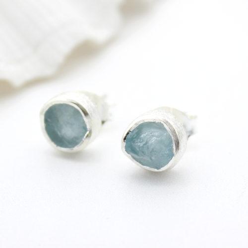 Aquamarine Gemstone Sterling Silver Stud Earrings