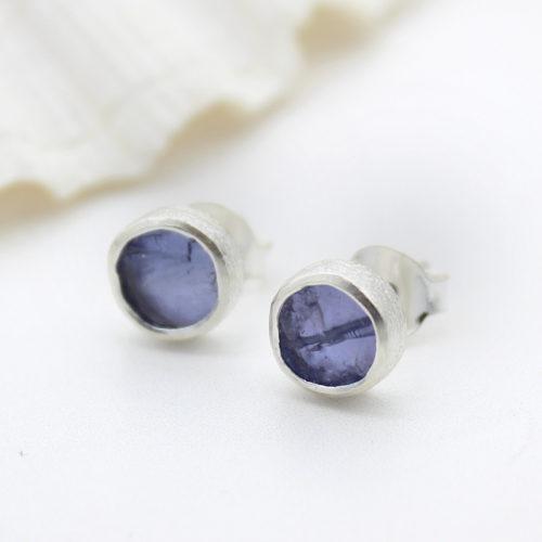 Tanzanite Gemstone Sterling Silver Stud Earrings